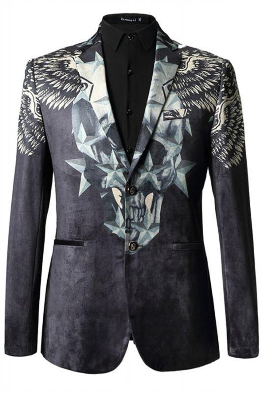 Jason Black Pleuche Star Printed Stylsih Slim Fit Blazer Jacket