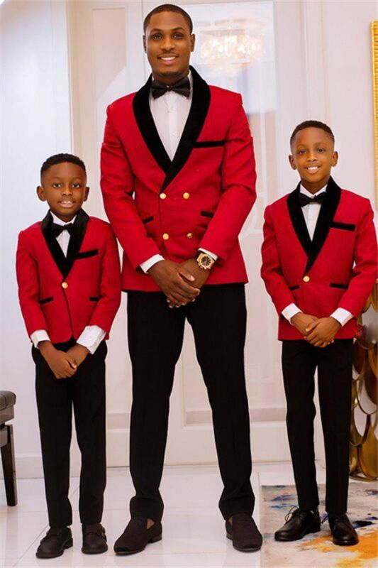 New Arrival Red Double Breasted Best Fitted Wedding Suits with Black Lapel