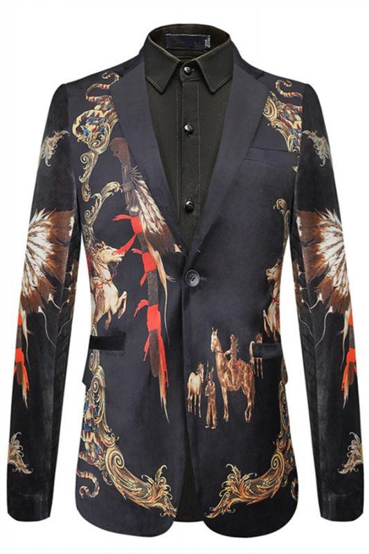 Evan Black Slim Fit Pattern Fashion Blazer Jacket for Men