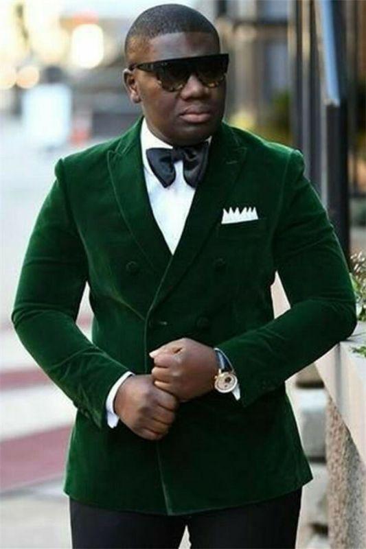 Dark Green Velvet Men's Suit   Double Breasted Peaked Lapel Prom Outfits for Men