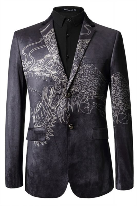 Jordan Black Animal Printed Fashion Slim Fit Men Blazer