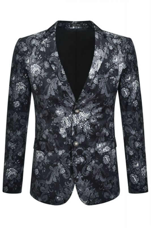 Juan Black Floral Slim Fit Casual Blazer Jacket Online