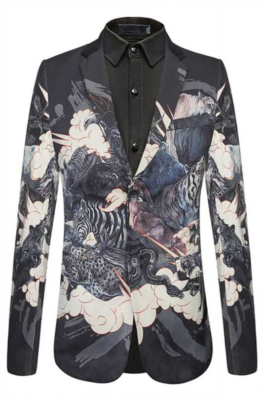 Isaac Black Soft Animal Printed Patterned Blazer Jacket for Men