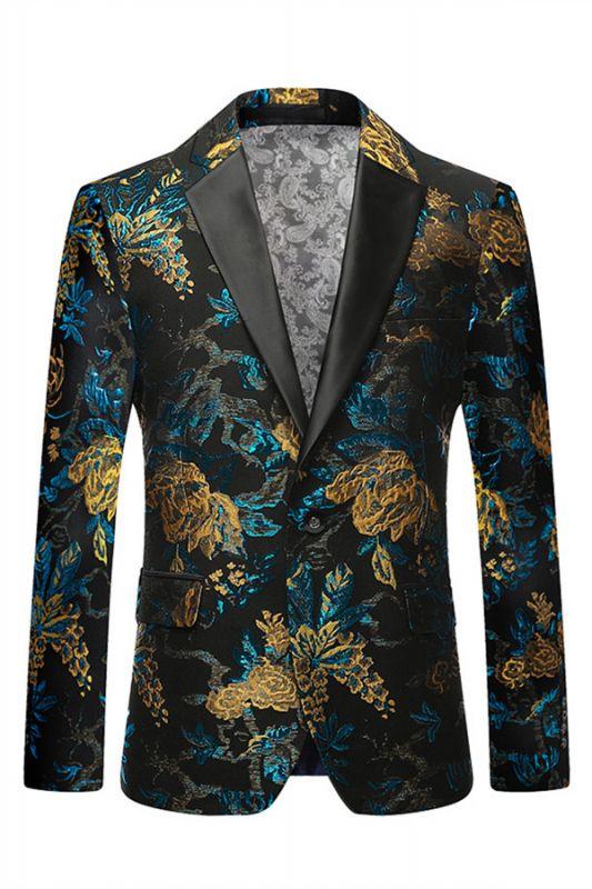 Green Floral Printed Slim Fit Mens Blazer with Black Lapel