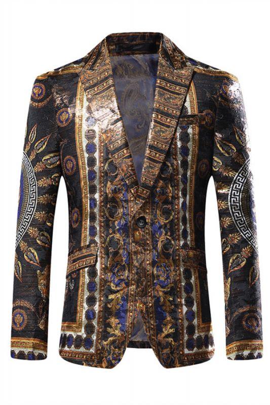 Stylish Black Peaked Lapel Jacquard Blazer for Men
