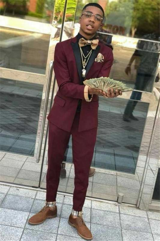 Christian Stylish Burgundy Two Piece Mens Suits with Black Lapel