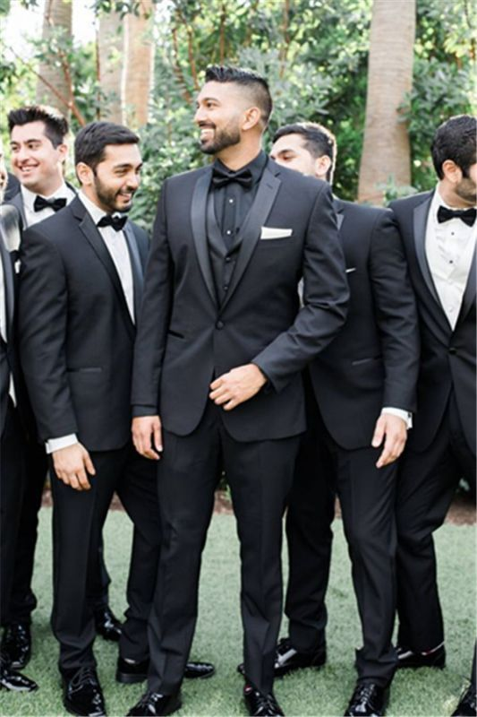 Adrian One Button Black Slim Fit Wedding Groomsmen Suit Online