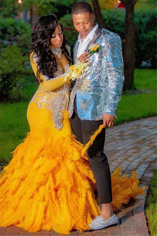 Glitter Silver Sequins Two Piece Fashion Prom Mens Suits