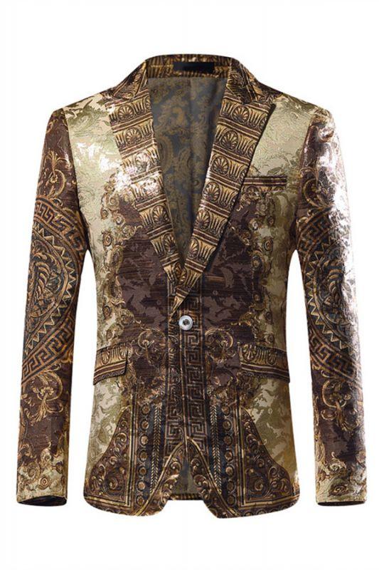 Gold Jacquard Slim Fit Peaked Lapel Mens Blazer