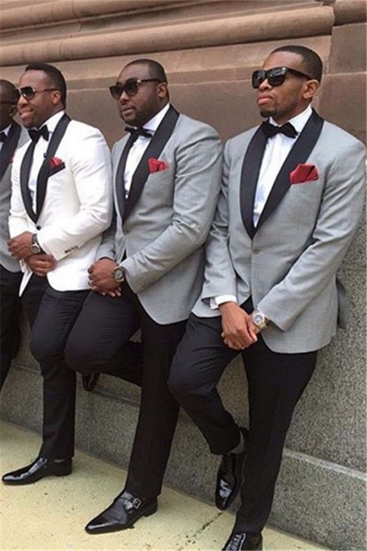 Aaron Gray One Button Best Fitted Wedding Groomsmen Suits with Black Lapel