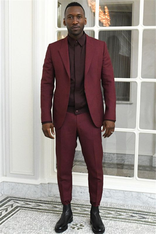 Burgundy Peaked Lapel Men Suits | Two Piece Slim Fit Prom Outfits Online