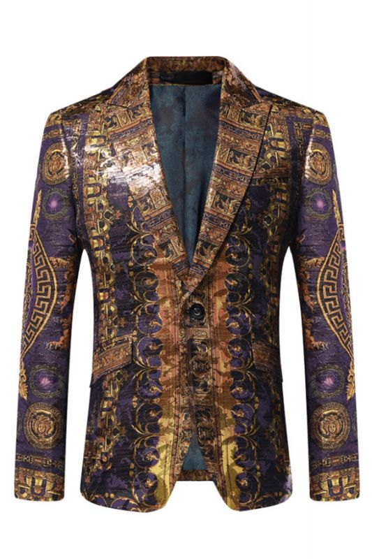 Stylish Peaked Lapel Gold Pattern Blazer Jacket