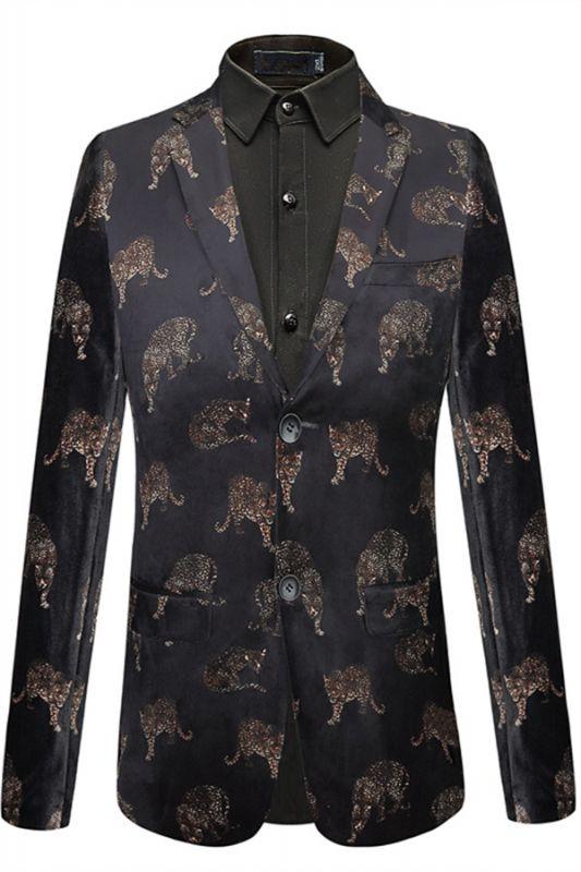 Evan Black Notched Lapel Printed Fashion Men Blazer