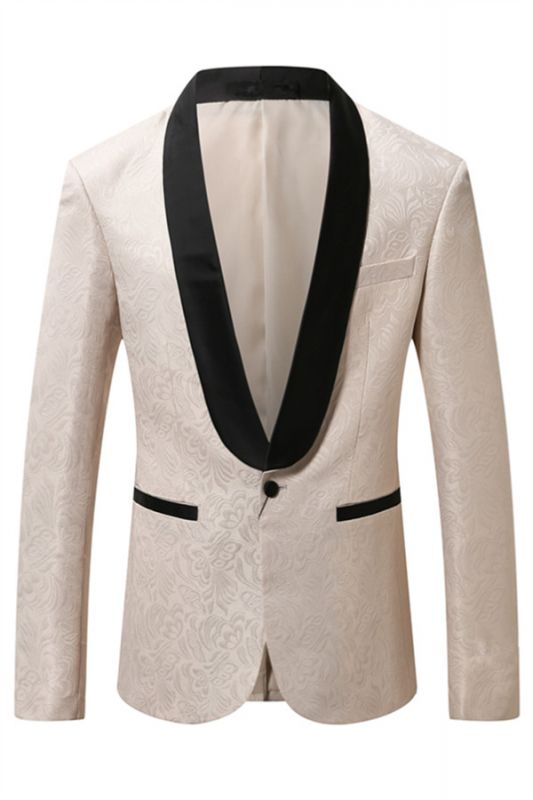 Julian Casual Off White Jacuquard One Button Blazer Jacket