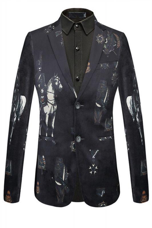 Fashion Black Knight Printed Pattern Mens Blazer