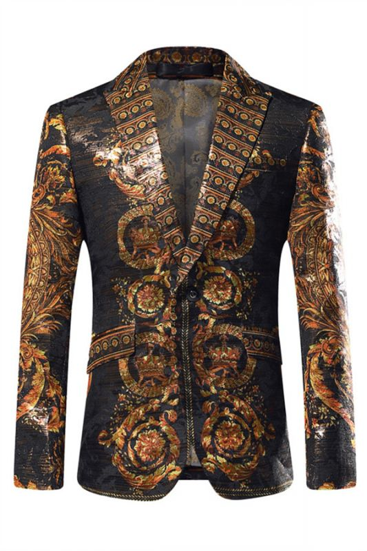 Fashion Gold Patterned Mens Slim Fit Blazers