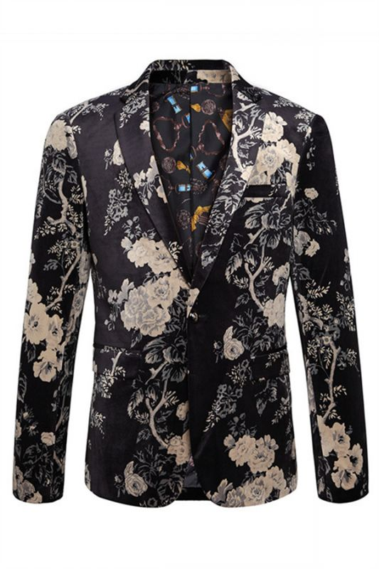 Robert Black Floral Best Fitted Blazer Jacket
