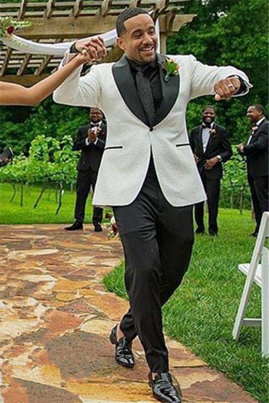 Samuel White Jacquard Shawl Lapel One Button Wedding Mens Suit