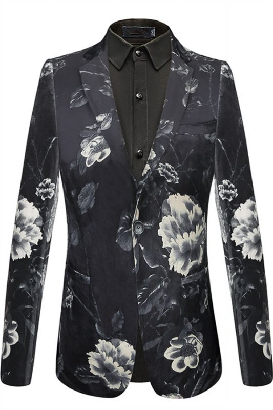 Isaiah Newest Black Floral Mens Blazer