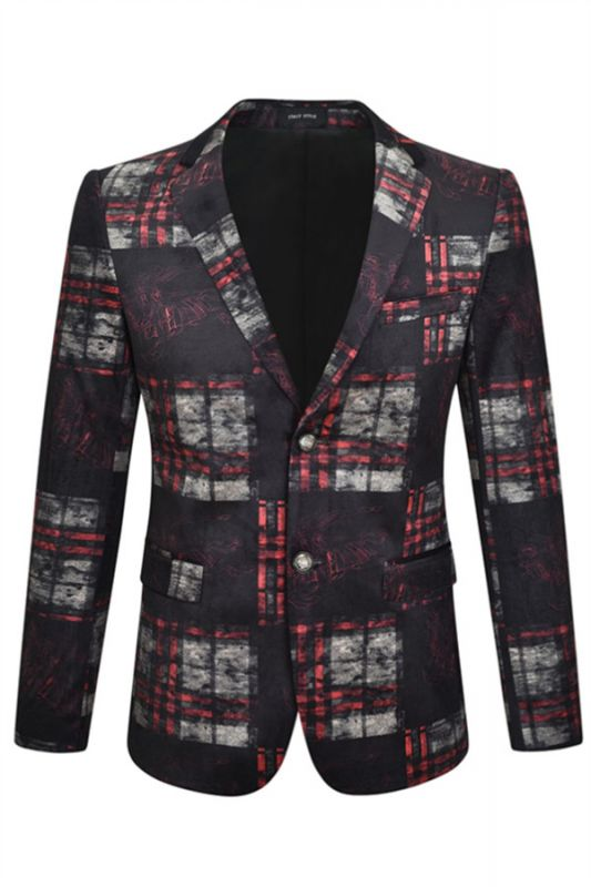 Fashion Black Plaid Velvet Notched Lapel Men Blazer
