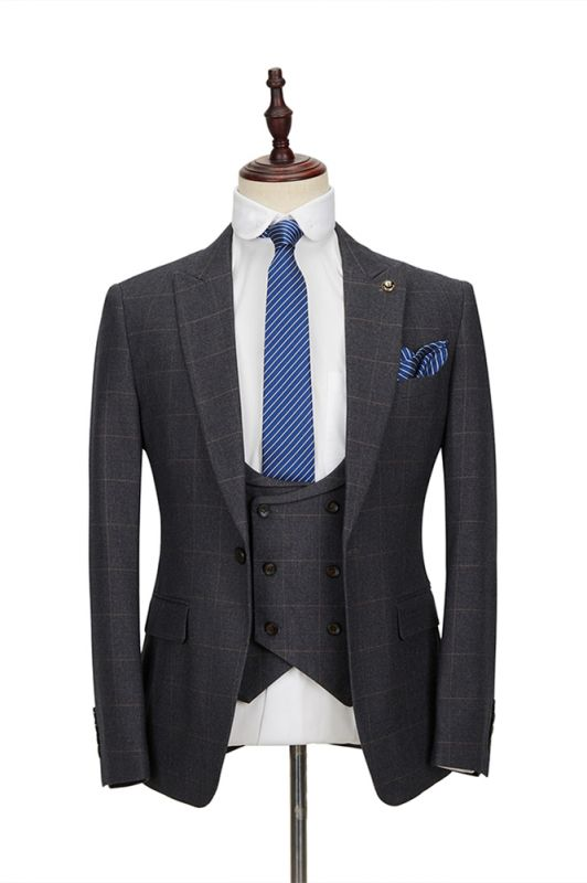 Classic Dark Gray Plaid Peak Lapel 3 Piece Men's Suit with Double Breasted Waistcoat