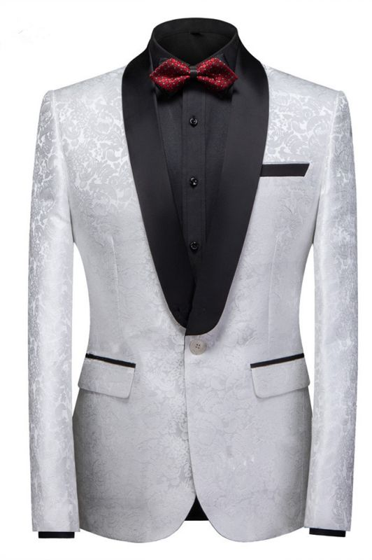Victor White Jacquard One Buttons Custom Made Wedding Men Suits
