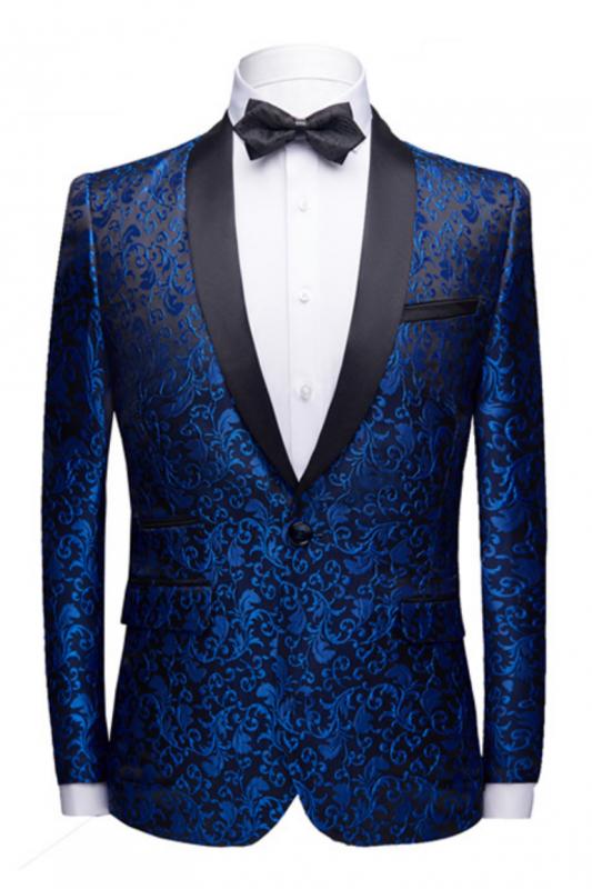Popular Royal Blue Jacquard Prom Suits Cheap | Shawl Lapel Black Satin Wedding Tuxedos-Theo