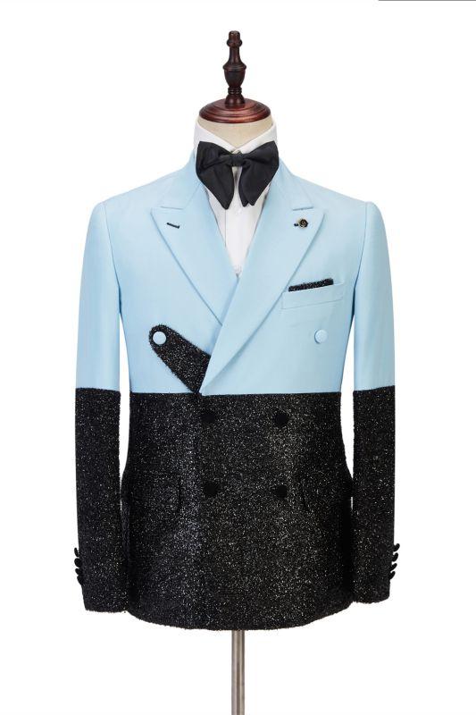 Stylish Sky Blue Stitching Sparkle Black Peak Lapel 2 Piece Men's Suit Online