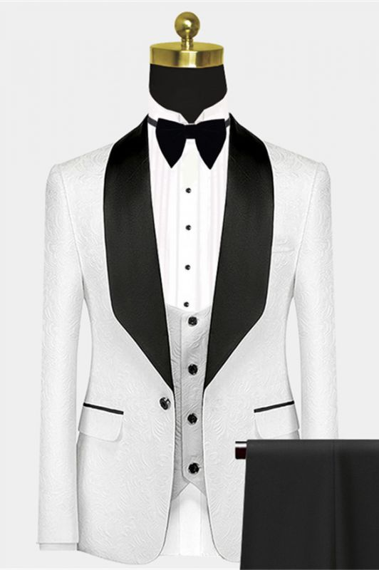 Popular Black Satin Lapel Jacquard White Wedding Suit Tuxedos - Ivan
