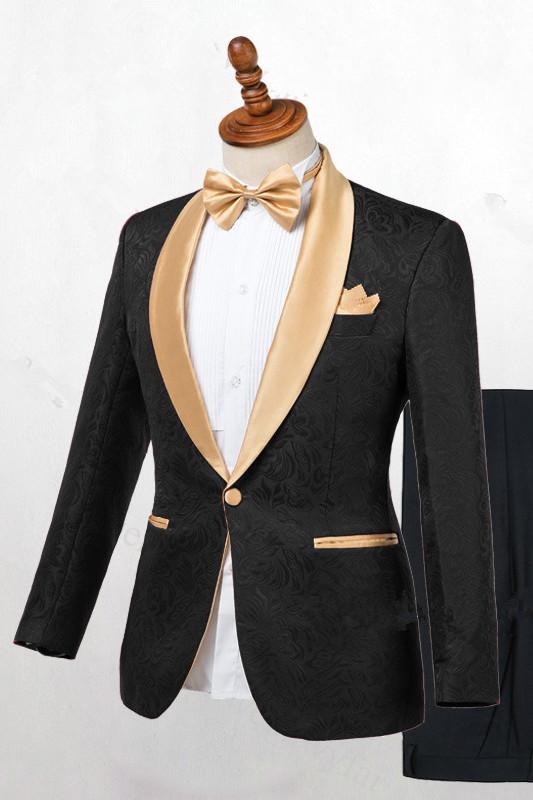 Josiah Handsome Black One Button Wedding Men Suits with Gold Lapel