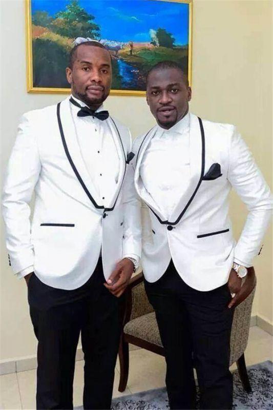 Wyatt White One Button Bespoke Shawl Lapel Wedding Groomsmen Suits