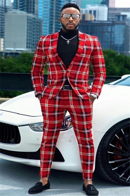 Sebastian Red Plaid One Button Formal Business Men Suits