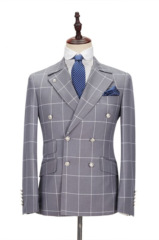 Silver Gray Plaid Peak Lapel Double Breasted Men's Formal Suit for Business