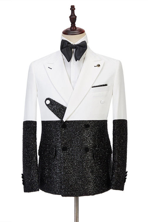 Kenneth White and Sparkle Double Breasted Fashion Slim Fit Prom Men Suits Online
