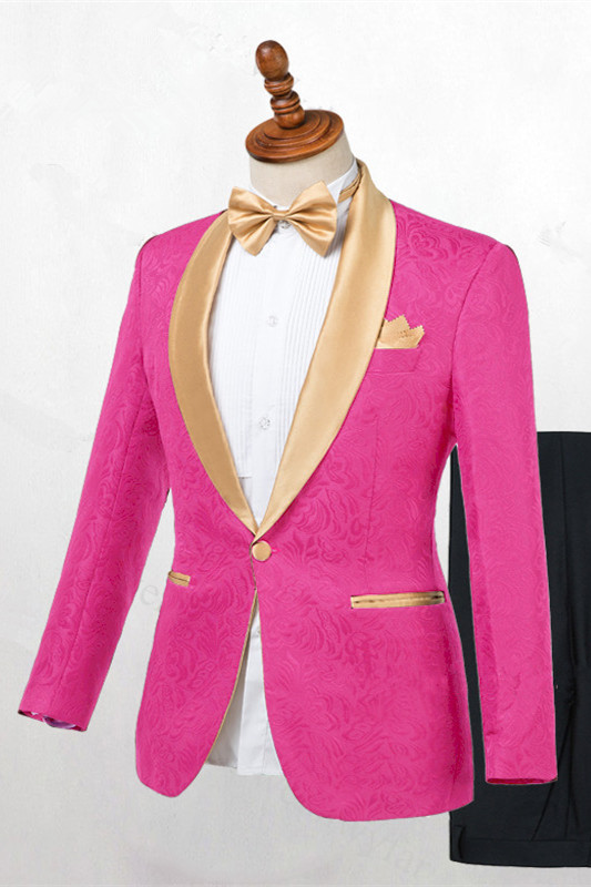 Miguel Hot Pink One Button Fashion Slim Fit Wedding Suits