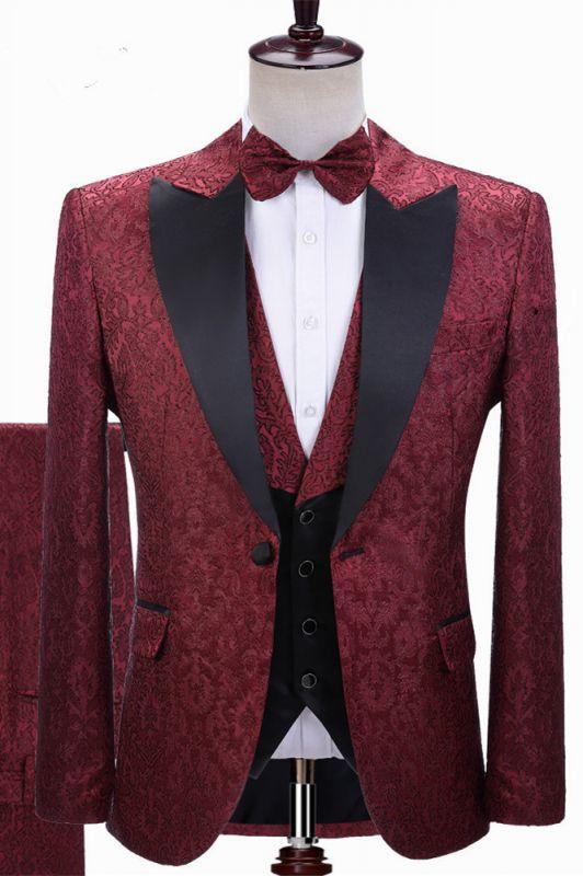 Parker Burgundy Jacquard Peaked Lapel Three-Pieces Wedding Men Suits