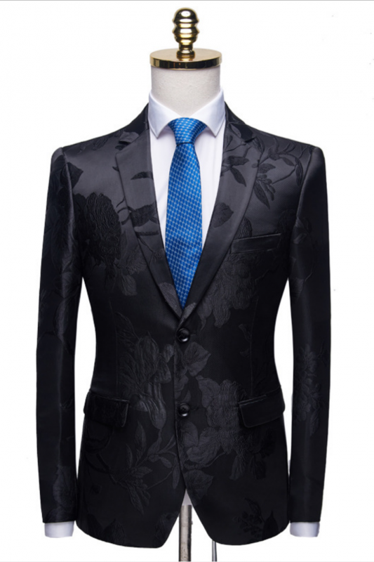 Stylish Notched Lapel Two Buttons Men's Suits | Floral Jacquard Black Wedding Tuxedos