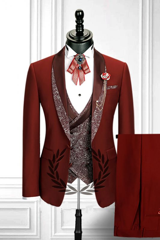 Red 3 Piece Stitching Lapel Stylish Double Breasted Waistcoat Men's Formal Suit