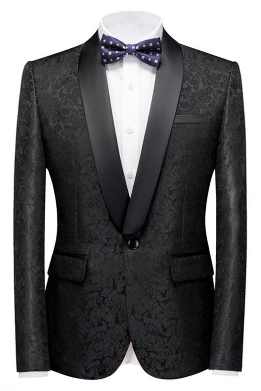 Colin Black Jacquard Classic Shawl Lapel Wedding Men Suits