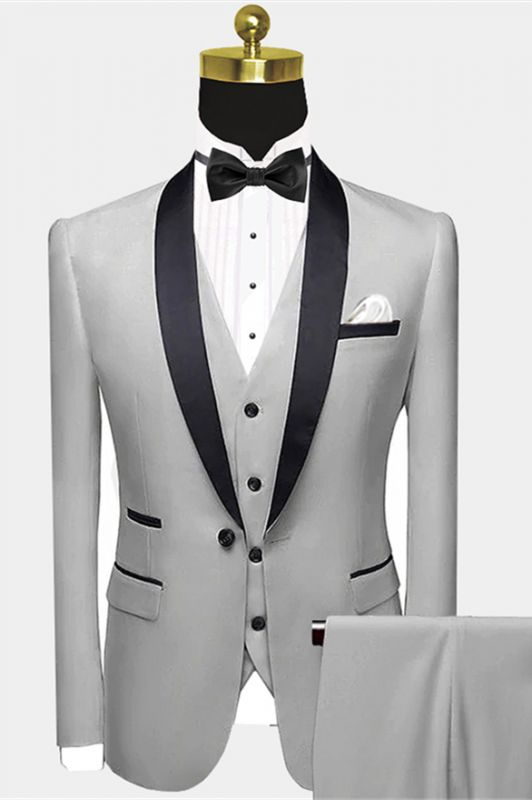 Advanced Silver Grey Prom Suit Cheap |  Black Satin Shawl Lapel Wedding Tuxedos for Groom Groomsmen - Wayne