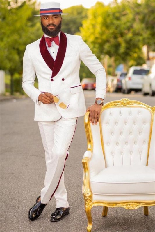 Bryan White Jacquard Double Breasted Wedding Suit with Burgundy Lapel