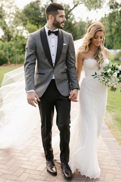 Fashion Gray Shawl Lapel Wedding Suit   One Button Men's Suit