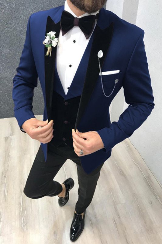 3 Piece Black-and-blue Peak Lapel Wedding Suits Tuxedos with Waistcoat