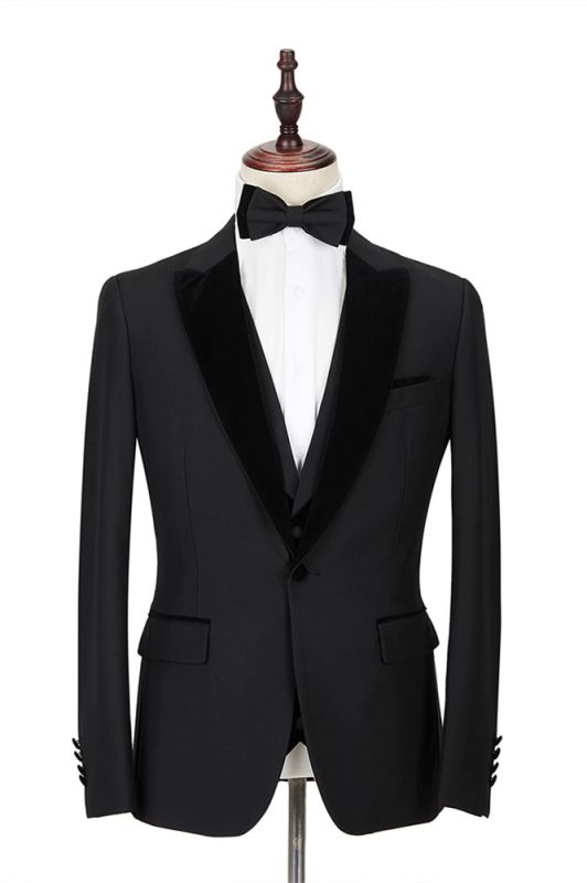 2 Piece Velvet Peak Lapel Classic Black Groom's Wedding Suit Tuxedos Cheap Onnline