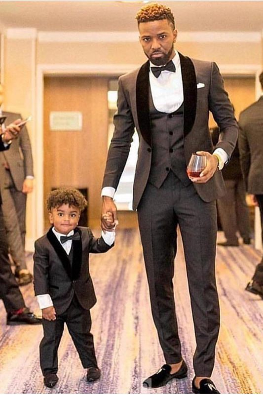 Shawl Lapel Gray and Black Wedding Suit | Groomsmen Tuxedos 3 Pieces