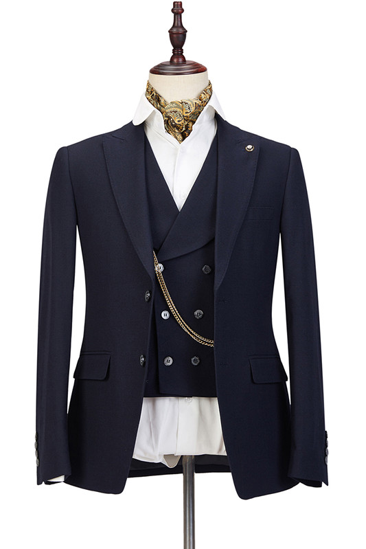 Ashton Black Three-Piece Peaked Lapel Elegant Wedding Suits for Men