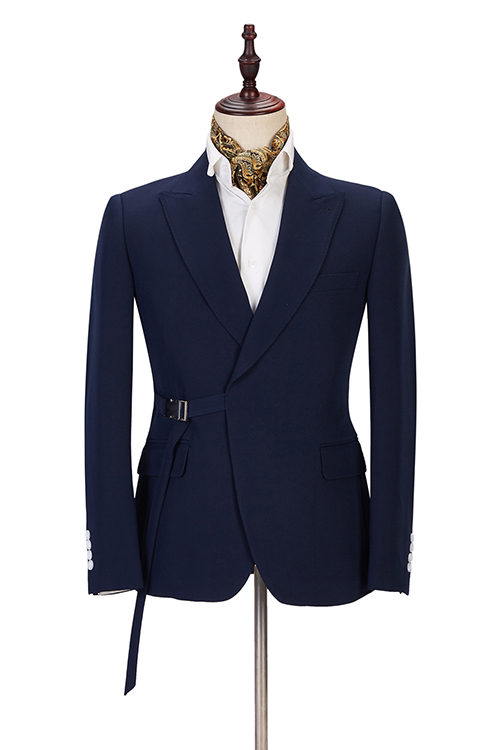 Maxwell Custom Made Navy Blue Peaked Lapel Cheap Men Suits Online