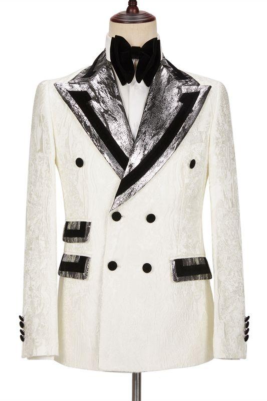 Unique White Jacquard Sparkle Silver Gray Lapel Flaps Black Banding Edge Men's Wedding Suits Tuxedos