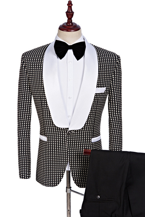 Black and White Shawl Lapel Wedding Suits | Fashion Dot Prom Tuxedo