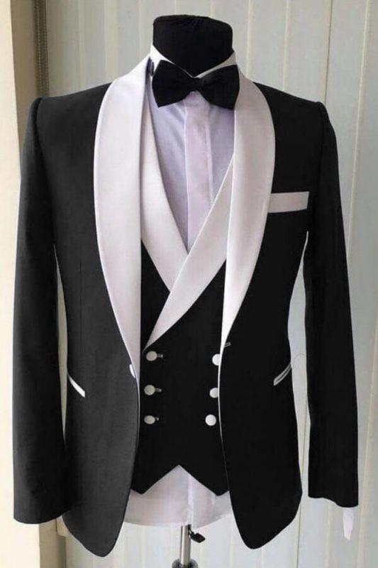 Wedding Groom White Lapel Shawl Lapel Classic 3 Piece Black Men's Suit for Formal